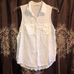 MICHAEL STARS White Button Down Sleeveless Top 2